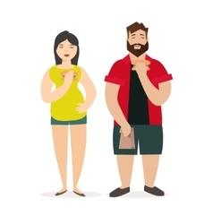Fat man and woman unhealthy food vector