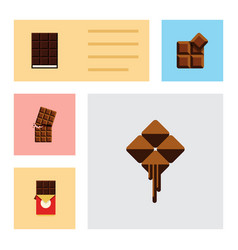 flat icon cacao set of delicious wrapper dessert vector image