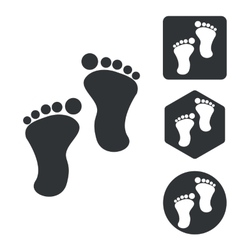 Footprint icon set monochrome vector