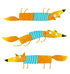 Fox animal character in clothes cartoon set vector image