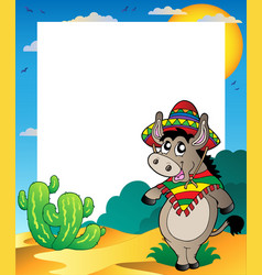 frame with mexican donkey vector image