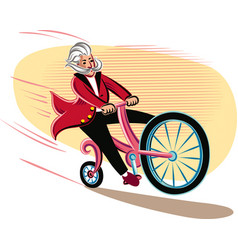 Funny cyclist racing on his bike vector