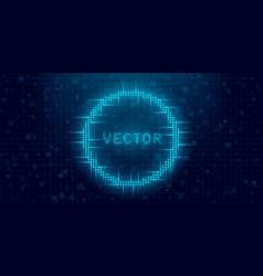 Futuristic cyberpunk glitch circle blue glowing vector