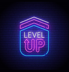 game popup level up neon sign game logo vector image