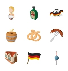 Germany icons set cartoon style vector