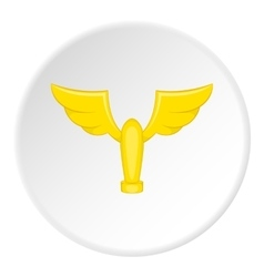 Gold cup with wings icon cartoon style vector