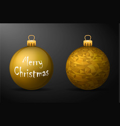 Golden christmas balls with golden holders set of vector
