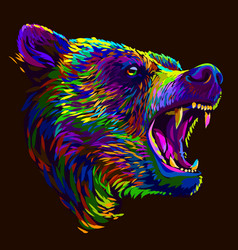 growling bear abstract multi-colored portrait vector image