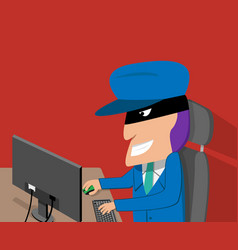 hacker is happy while hacking by desktop computer vector image