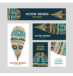 Hand drawn aztec style feathers Tribal design vector