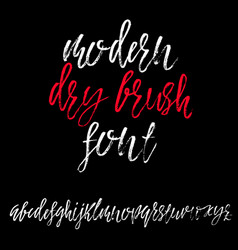 hand drawn dry brush lettering grunge style vector image