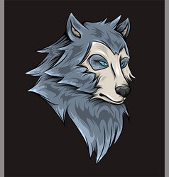 Hand drawn scary wolf with serious vector