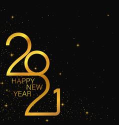 happy 2021 new year golden banner vector image