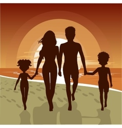 happy family walking along beach at sunset vector image