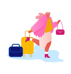 Happy fashioned woman traveler with luggage inn to vector