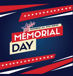 happy memorial day design card flag vector image