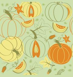 harvest of pumpkins pattern vector image