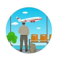 Icon of waiting room with man in uniform vector