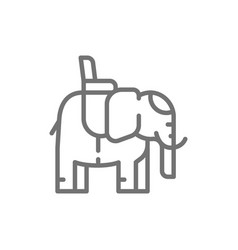 indian elephant with a saddle line icon vector image