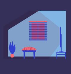 Interior design home tv armchair plant window vector