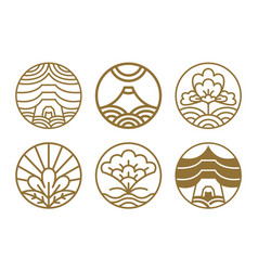 japanese icons set flowers vector image