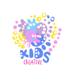 Kids creative logo colorful hand drawn labels for vector