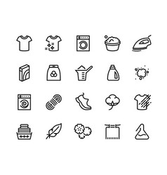 Laundry line icons cleaning hand and machine vector