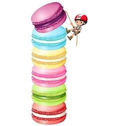 Little boy climbing up macarons vector