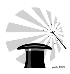 magic hat and magic wand black white label vector image
