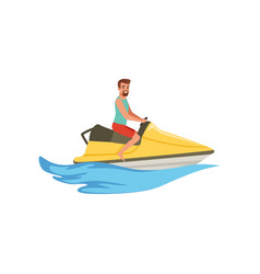 Male jet ski rider extreme water sport activity vector