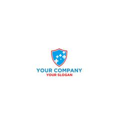 medical shield logo design vector image