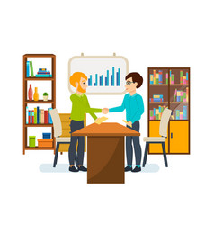 meeting partners in a quiet cozy atmosphere vector image