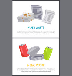 Metal and paper waste isolated on white backdrop vector