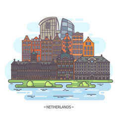 museums and landmarks of netherlands or holland vector image