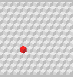 One red cube standing among the crowd of gray vector