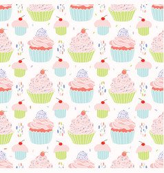 pastel cupcakes food pattern vector image