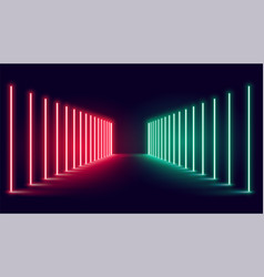 Red and green neon light stage background design vector