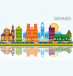 Rennes france city skyline with color buildings vector