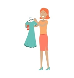 Sale in clothing store flat concept vector