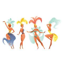 Set brazilian samba dancers carnival rio vector