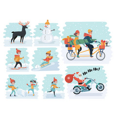 set cartoon people in winter clothes including vector image