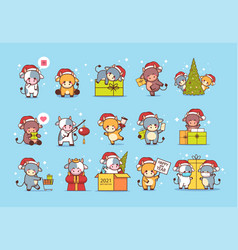 Set little oxes in santa hats happy new year vector