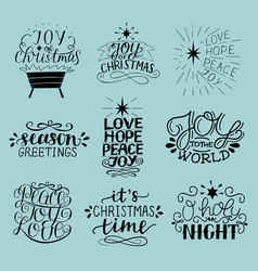 Set of 9 christmas inscriptions with lettering o vector