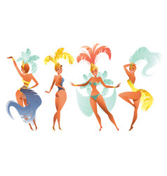 Set of brazilian samba dancers carnival rio vector