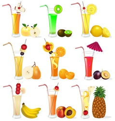 set of fruit juices from pineapple plum banana p vector image