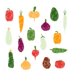 Set of grunge vegetables isolated vector