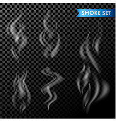 set of smoke or steam on transparent vector image