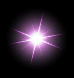 shining star on black background purple color vector image