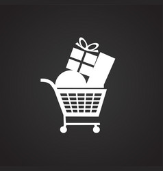 shopping cart at sale on black background vector image