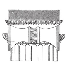 Side view ionic capital temple of vector